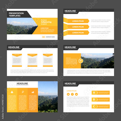 orange yellow presentation templates infographic elements flat, Powerpoint templates