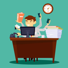 Multitasking Businessman. Man at Work in Office. Successful Businessman