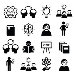 Knowledge, creative thinking, ideas vector icons set