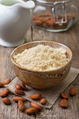 almond flour in a ceramic bowl