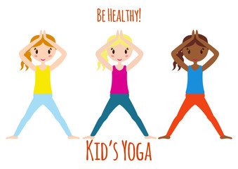 Yoga kids set. Gymnastics for children. Vector illustration.