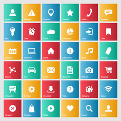 Universal colorful web icons set for internet