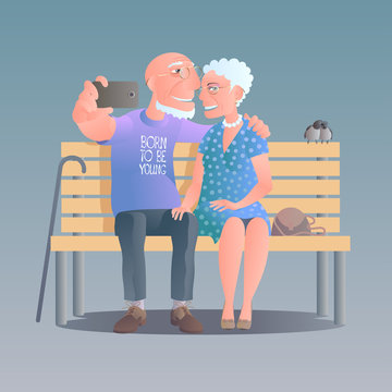 Old people happy and active vector illustration