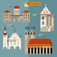 Sights of Munich. Bavaria, Germany, Europe.