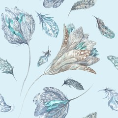 Feather Flowers Watercolor Pattern