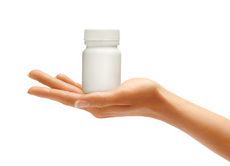 Woman's Hands with bottle for medical pills isolated on white background. Palm up, close up. High resolution product.