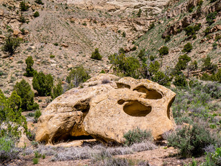 Huge Boulder in High Desert with Holes