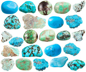 set of various turquoise and imitation gemstones