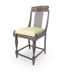 3d rendering antique chair on white background