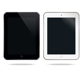 Mock up black and pearl tablets similar to pro. Isolated objects on a white background. Vector design