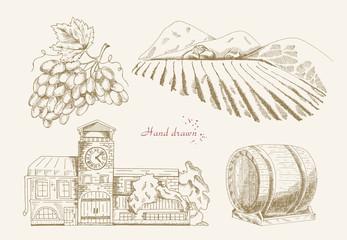Winemaking. Vector illustration