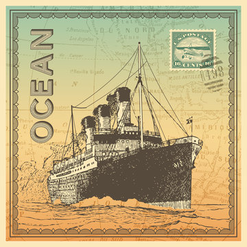 travel themed card/background with vintage ocean liner, map and postage design elements