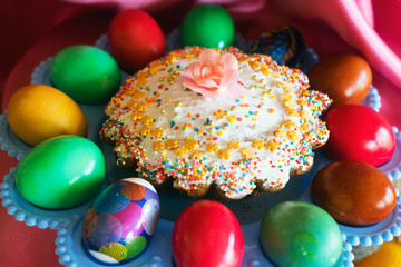 Easter cake and painted eggs on  dish.