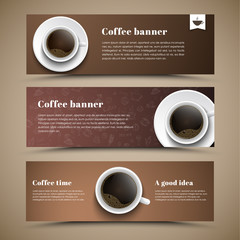 Design coffee banners with a cup of coffee.