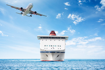 Big cruise ship and plane over the sea as theme for vacations and traveling