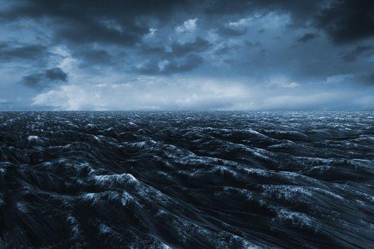 Composite image of dark blue ocean