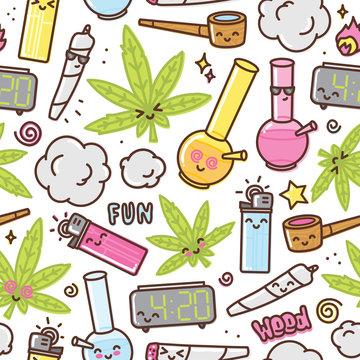 Marijuana kawaii cartoon seamless vector pattern