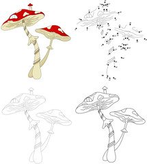 Cartoon mushroom house. Dot to dot game for kids