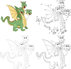 Cartoon funny three headed dragon. Dot to dot game for kids