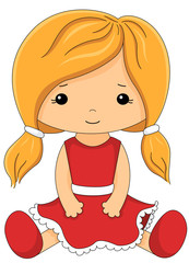 Fabric doll in red dress isolated on white