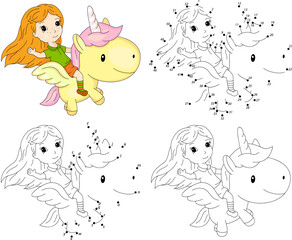 Girl and unicorn. Coloring book and dot to dot game for kids