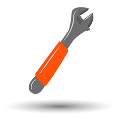Adjustable wrench colorful icon