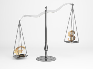 Euro and dollar justice scales