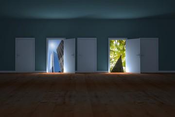 Composite image of doors opening in dark room to show sky