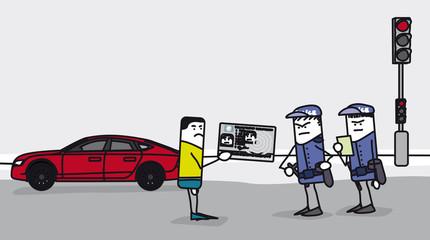 Contrôle de police sur la route