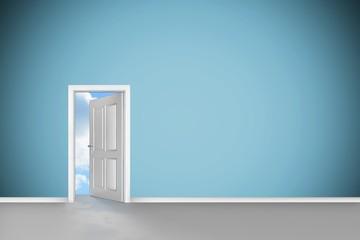 Composite image of open door on green wall