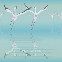 Abstract sketch soaring flamingos in the pond, seamless pattern