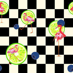 Figure chessboard with playing red flamingo, decorated with lime and blueberry, fashion design, seamless pattern, for kids