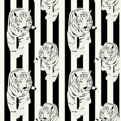 white tiger on a striped background, fashion design, seamless pattern. monochrome, black and white