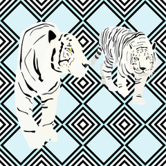 Two white tiger on a striped background, fashion design, seamless pattern