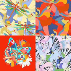 Abstract floral background with butterflies and dragonflies,  seamless pattern, fashion