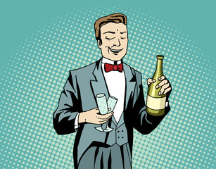 Pop art waiter with champagne and wineglasses at work.