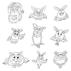 Set of nine funny owls