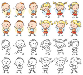 Fototapete - Set of boy and girl characters with different emotions