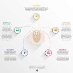 Element template infographic business concept with five options.
