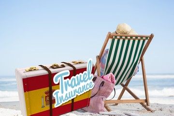 Composite image of travel insurance message on a spanish suitcas