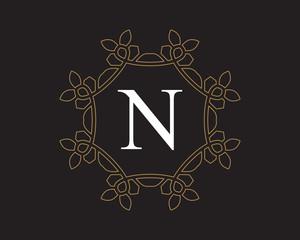 N  Monogram Vintage Classic Letter Logo for Luxury  Business