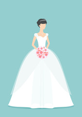 Beautiful Bride holding a flower bouquet. Princess silhouette with shadow. Female White wedding dress on mannequin isolated on Green background. Vector
