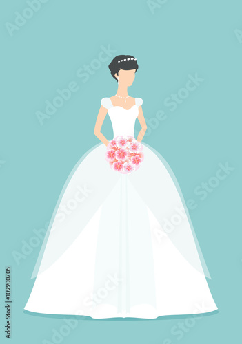 Beautiful Bride holding a flower bouquet. Princess silhouette with ...
