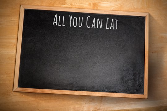 Composite image of all you can eat message