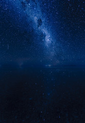 ウユニ・湖面に映る天の川と流れ星。