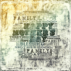 Happy Mother's Day Different Words on grunge background