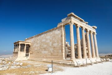 Erechtheum temple ruins on the Acropolis in Athens, Greece