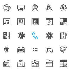 Mobile Phone application icons with White Background