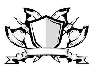 axes and shield badge