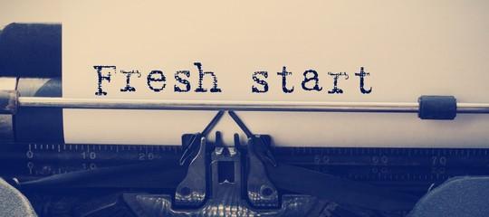 Composite image of words fresh start against white background